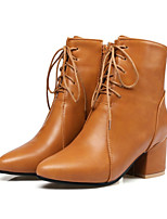 Women's Shoes PU Fall Winter Comfort Novelty Fashion Boots Bootie Boots Chunky Heel Pointed Toe Booties/Ankle Boots Lace-up For Wedding