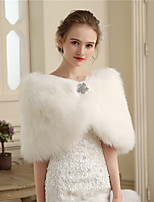 Women's Wrap Capelets Faux Fur Wedding Party/ Evening Buttons Fur