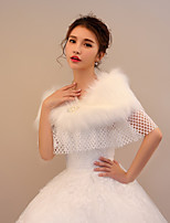 Women's Wrap Capelets Faux Fur Wedding Party/ Evening Rhinestone Beading Imitation Pearl