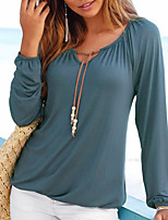 Women's Holiday Going out Simple Street chic Spring Fall T-shirt,Solid Round Neck Long Sleeves Polyester Medium