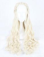 Femme Perruque Synthétique Sans bonnet Long Ondulés Blond beige Perruque de Cosplay Perruque Déguisement