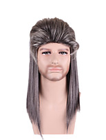 Men Synthetic Wig Capless Medium Long Straight Grey Highlighted/Balayage Hair Layered Haircut Party Wig Halloween Wig Cosplay Wig Costume