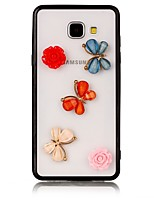 For Case Cover Transparent Back Cover Case Butterfly Flower 3D Cartoon Hard Acrylic for Samsung Galaxy A3(2017) A5(2017) A7(2017)