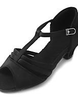 Kids' Latin Sparkling Glitter Satin Sandal Heel Practice Buckle Chunky Heel Black 1