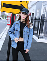 Women's Sports Going out Simple Spring Fall Denim Jacket,Solid Print Shirt Collar Long Sleeve Regular Others