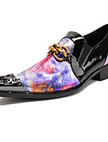 Men's Shoes Nappa Leather Spring Fall Comfort Novelty Loafers & Slip-Ons Rivet For Wedding Party & Evening Red