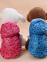 Cachorro Casacos Roupas para Cães Casual Mantenha Quente Pontos Vermelho Azul