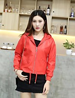 Women's Going out Casual/Daily Simple Street chic Jackets,Solid Shirt Collar Long Sleeve Fall Winter Gold Cashmere PU Polyester Medium
