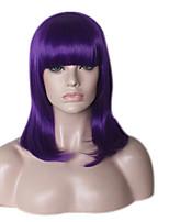 Donna Parrucche sintetiche Senza tappo Medio Lungo Lisci Kinky liscia Viola Parrucca riccia stile afro Attaccatura dei capelli naturale
