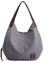 Women Bags All Seasons Canvas Shoulder Bag Zipper for Casual Black Beige Gray Purple Coffee