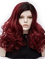 Donna Parrucche sintetiche Senza tappo Medio Onda riccia Rosso scuro Capelli schiariti Parrucca di Halloween costumi parrucche