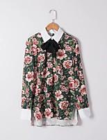 Для женщин На выход На каждый день Весна Осень Рубашка Рубашечный воротник,Простое Очаровательный Уличный стиль Цветочный принт