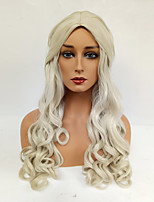 Women Synthetic Wig Capless Long Loose Wave Blonde Middle Part Cosplay Wig Costume Wig