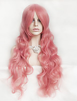 Women Synthetic Wig Capless Long Wavy Deep Wave Pink With Bangs Party Wig Halloween Wig Costume Wig