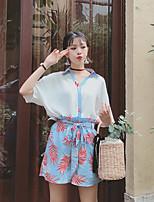 T-shirt Pantalone Completi abbigliamento Da donna Per uscire Romantico Estate,Fantasia floreale Colletto Manica corta