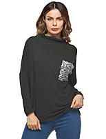 T-shirt Da donna Per eventi Casual Moda città Autunno Inverno,Tinta unita A collo alto Cotone Manica lunga