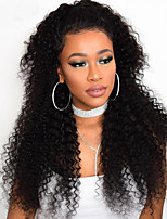 Women Human Hair Lace Wig Indian Human Hair 360 Frontal 130% Density With Baby Hair With Ponytail Curly Wig Black Long For Black Women