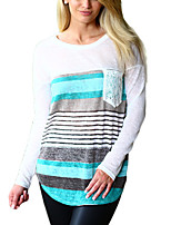 Women's Going out Casual/Daily Simple Street chic Fall T-shirt,Color Block Round Neck Long Sleeves Polyester