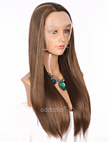 Women Synthetic Wig Lace Front Long Straight Ash Brown Highlighted/Balayage Hair Natural Hairline Natural Wigs Costume Wig