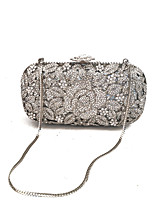 Women Bags Spring Fall Metal Evening Bag Crystal Detailing for Event/Party Silver