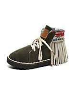 Для женщин Обувь Полиуретан Осень Зима Зимние сапоги Ботинки На плоской подошве Круглый носок Назначение Повседневные Черный Серый