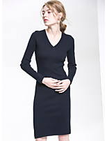 Gaine Robe Femme Sortie Couleur Pleine Col en V Mi-long Manches Longues Coton Automne Taille Normale Micro-élastique Moyen