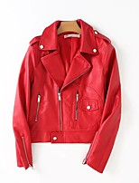 Women's Going out Casual/Daily Simple Active Street chic Spring Fall Leather Jacket,Solid Notch Lapel Long Sleeve Short PU Others
