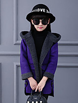 Girls' Color Block Trench Coat,Cotton Spandex Fall Winter Long Sleeve