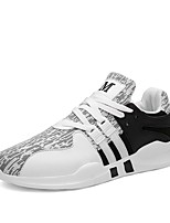 Women's Shoes PU Spring Summer Comfort Light Soles Sneakers Flat Heel Round Toe Gore Lace-up For Casual Outdoor Black/Red Black/White