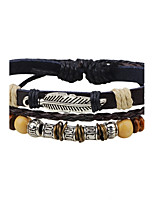 Men's Women's Leather Bracelet Fashion Adjustable Leather Alloy Round Feather Jewelry For Casual Going out
