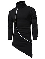 Men's Sports Holiday Casual/Daily Sweatshirt Solid Oversized Turtleneck Micro-elastic Cotton Long Sleeve Fall Winter