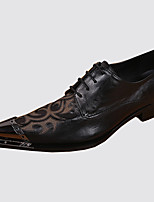 Men's Shoes Nappa Leather Spring Fall Comfort Novelty Oxfords Rivet Lace-up For Wedding Party & Evening Black