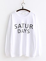 Women's Going out Casual/Daily Simple Cute Street chic Spring Fall T-shirt,Solid Letter Round Neck Long Sleeves Cotton Others Thin Medium
