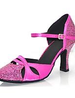 Women's Modern Sparkling Glitter Sandal Heel Professional Buckle Sparkling Glitter Customized Heel Purple Silver Gold 1