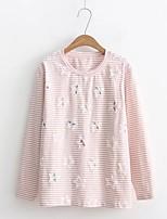 Tee-shirt Femme,Rayé Imprimé Sortie Décontracté / Quotidien simple Chic de Rue Printemps Automne Manches Longues Col Arrondi Coton Autres