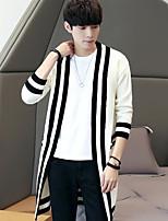 Standard Cardigan Da uomo-Casual A strisce Rotonda Manica lunga Altro Autunno Medio spessore Media elasticità