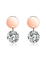 Women's Drop Earrings Rhinestone AAA Cubic Zirconia Classic Elegant Titanium Steel Rose Gold Plated Circle Jewelry For Wedding Evening