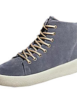 Unisex Shoes PU Spring Fall Comfort Light Soles Sneakers Flat Heel Round Toe Lace-up For Casual Outdoor Khaki Gray Black