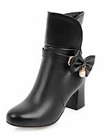 Femme Chaussures Similicuir Printemps Automne Confort Nouveauté Bottes Gros Talon Bout rond Noeud Pour Décontracté Blanc Noir Rose