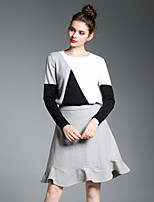 ZIYI Women's Casual/Daily Work Simple Spring Fall Winter Hoodie Skirt Suits,Color Block Round Neck Long Sleeve Micro-elastic