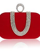 Women Bags All Seasons Velvet Evening Bag Crystal Detailing for Wedding Event/Party Formal Black Red Purple Fuchsia Camel