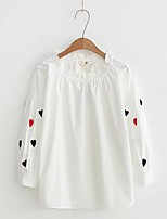 Women's Going out Casual/Daily Sexy Simple Street chic Spring Fall Shirt,Solid Embroidery Round Neck Long Sleeves Cotton Others Thin