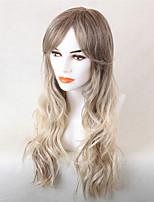 Women Human Hair Capless Wigs Medium Brown/Strawberry Blonde Honey Blonde Long Wavy Ombre Hair