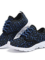 Girls' Shoes Knit Breathable Mesh Fabric Tulle Fall Winter Comfort Light Soles Flats Split Joint Lace-up For Casual Black/Blue Blushing