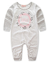 Baby Stripe Leaf One-Pieces,Polyester Spring/Fall Summer Long Sleeve
