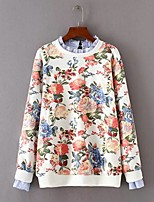 Women's Going out Casual/Daily Simple Cute Street chic Spring Fall Shirt,Solid Floral Print Crew Neck Long Sleeves Cotton Others Thin