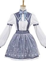Einteilig/Kleid Strümpfe/Strumpfhosen Niedlich Elegant Prinzessin Cosplay Lolita Kleider Streifen Galaxis Langarm Knielänge Stirnband
