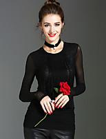 T-shirt Da donna Casual Per eventi Sensuale Romantico Moda città Primavera Autunno,Tinta unita Rotonda Poliestere Manica lunga Medio