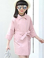 Girls' Solid Trench Coat,Cotton Spring Fall Long Sleeve