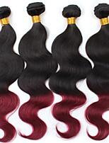 vierge Cheveux Brésiliens A Ombre Ondulation naturelle Extensions de cheveux 4 noir Bordeaux / Foncé